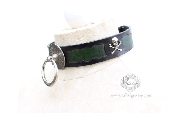 """Fetish leather collar- """"Captain's Orders"""" Pirate design. READY TO SHIP! 1 Large (16-18in) and 1 X-Large (18-20in) available."""