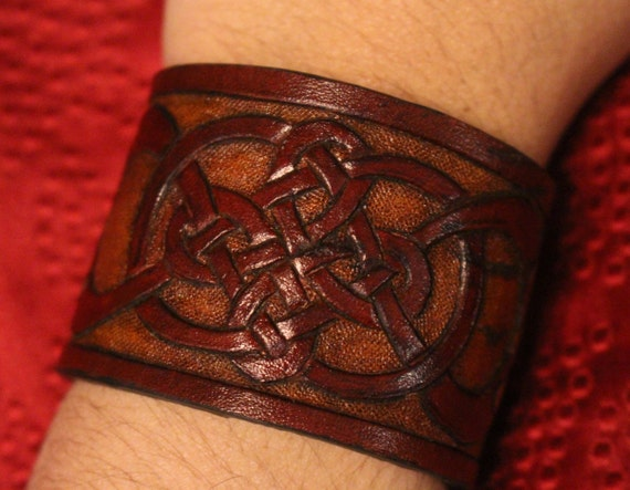 Leather wristband, Celtic- infinity quad knot bracelet design in natural brown tones. New snap closure with custom sizing available!