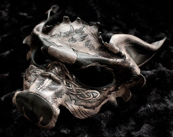 "Leather mask, wolf- ""Vargis"" celtic wolf and knotwork design"