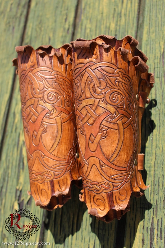 "Leather bracers, Druid. ""Tree of Life"" Celtic knot-work design enhanced with gold and copper metallic hues!"