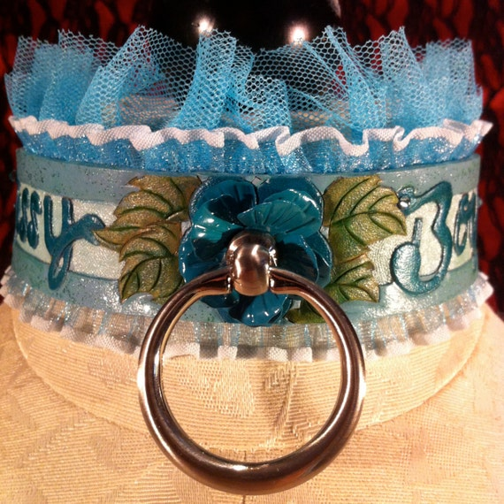"Fetish leather collar- READY TO SHIP! ""Sissy Boy"" teal metal rose center piece with Swarovski and glitter accents. Size medium (13-15 in)"
