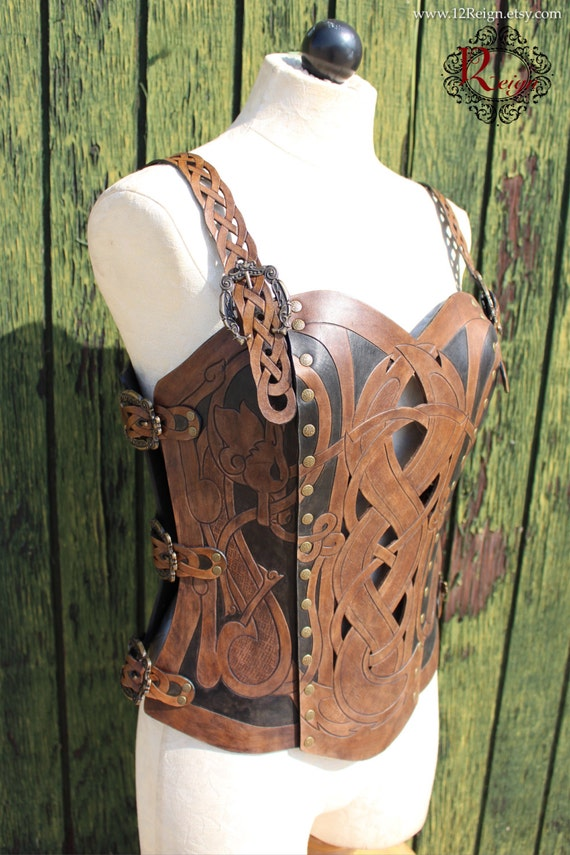 Leather armor corset, Viking design- celtic wolf cut-out design in heavy duty leather. Several sizes available! Now in Dark Brown & Black!
