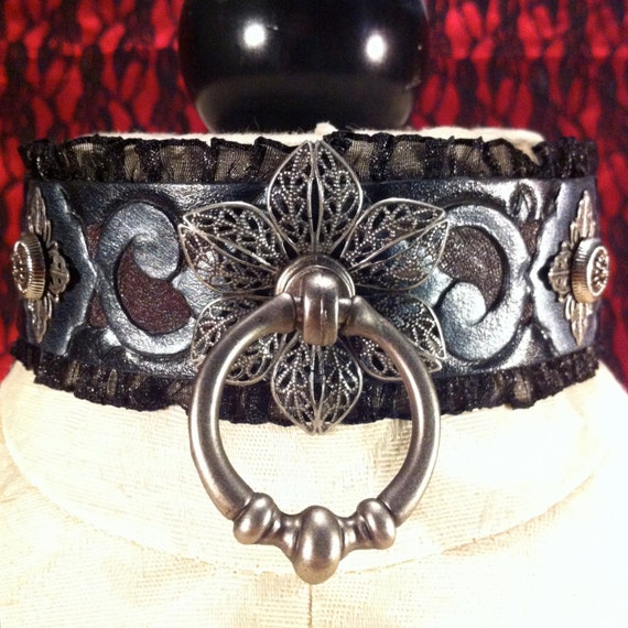 "Fetish leather collar- ""Garden of Otherworldly Delights"" filigree flowers and pewter vines"