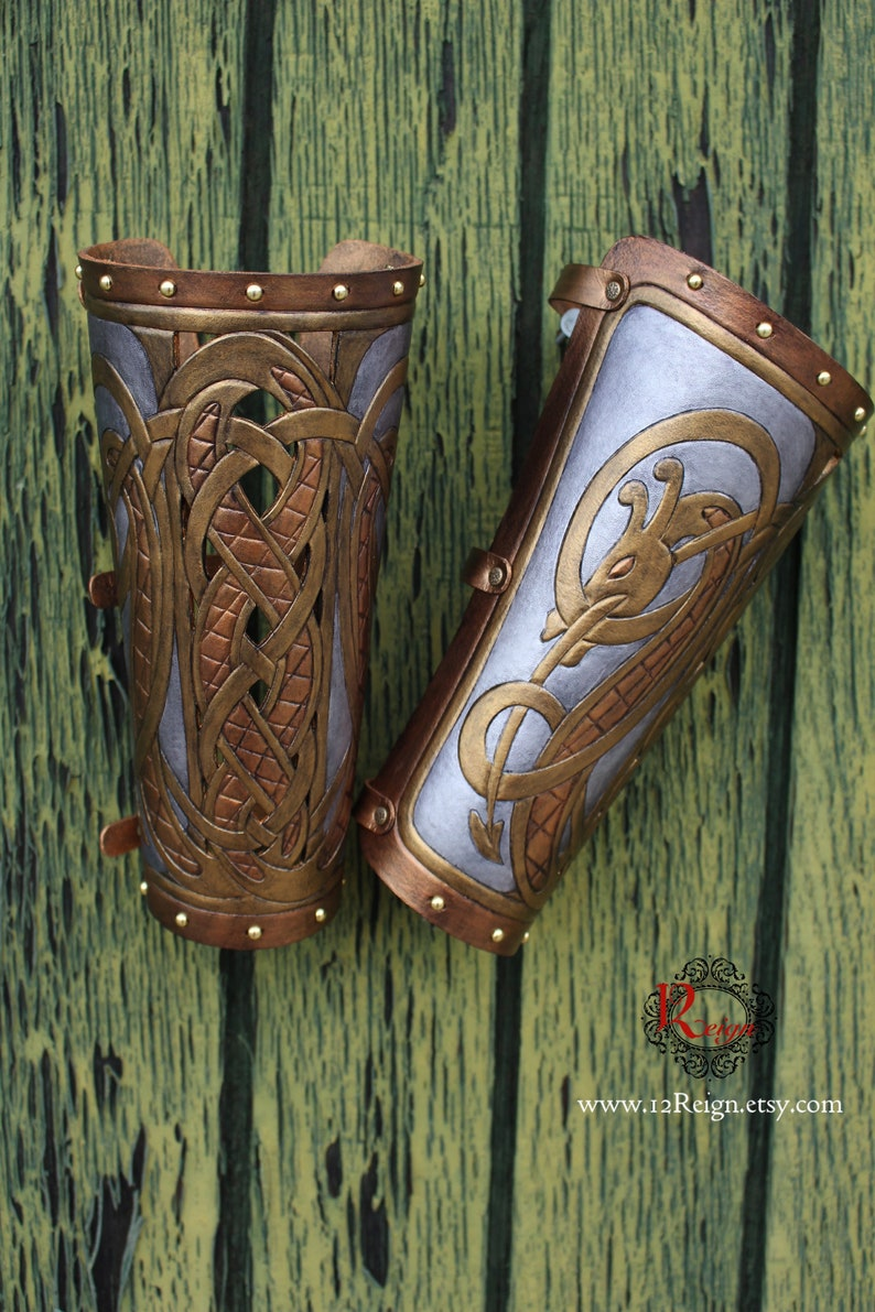 Leather bracers dragon serpent FULL LENGTH cut-out design. image 0