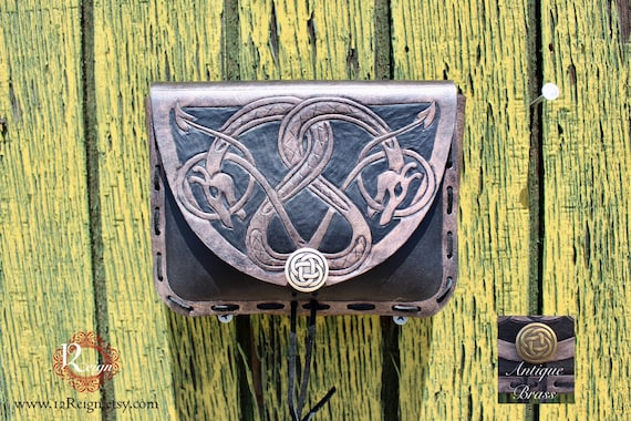 "Leather Viking pouch- ""Floki"" dual celtic dragon design with custom concho closure"