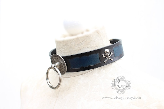 "Fetish leather collar- ""Captain's Orders"" Pirate design. READY TO SHIP! 1 X-Large (18-20in) available."