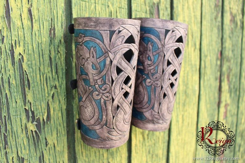 Leather bracers Viking Skoll and Hati HALF image 0