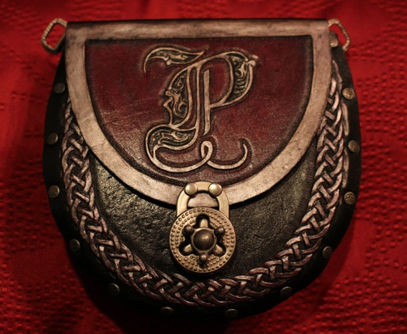 "Leather pouch, Monogram- 7"" multi-fuctional and low profile! Use as a purse, sporran or renaissance fair pouch!"