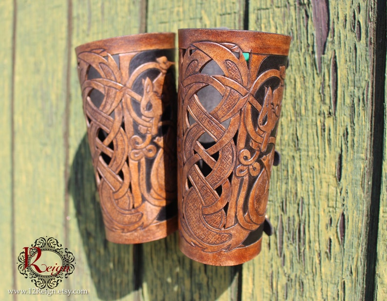 Leather bracers Viking Skoll and Hati HALF image 0