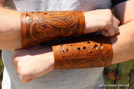 "Leather bracers, Viking- ""Floki"" HALF LENGTH celtic dragon cut-out design. NEW two-tone brown dyes!"