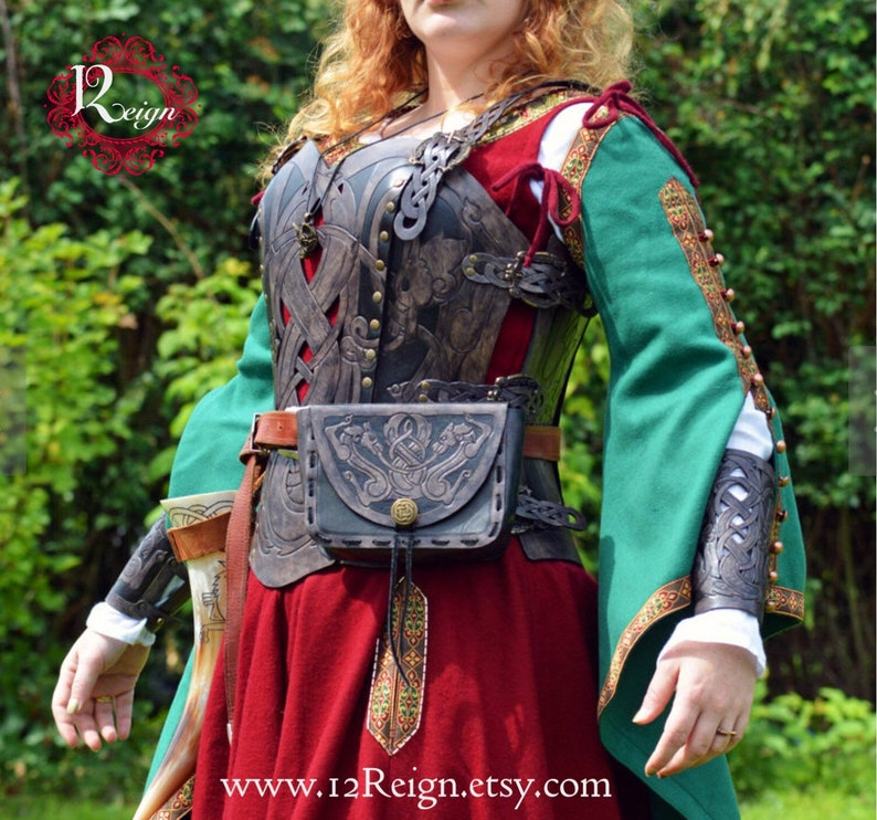 Leather armor corset bracers AND pouch Viking design celtic image 0