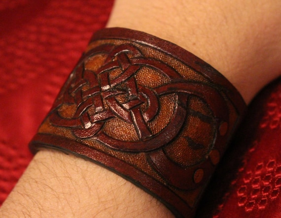Leather wristband, Celtic- READY TO SHIP! Infinity quad knot bracelet design in natural brown tones