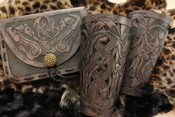 "Leather bracers AND pouch, Viking- ""Skoll and Hati"" celtic wolf cut-out design. Buy the bracers & pouch together and get a DISCOUNT!"