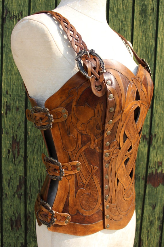 Leather armor corset, Viking design- celtic wolf cut-out design in heavy duty leather. Several sizes available! Now in 2-tone Brown!