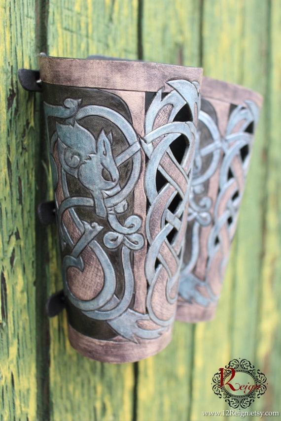 "Leather bracers, Viking- ""Skoll and Hati"" HALF LENGTH celtic wolf cut-out design. Now available in Gray, Black & Silver Blue!"
