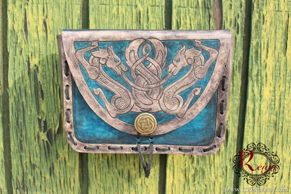 "Leather Viking pouch- ""Skoll and Hati"" dual celtic wolf design with custom concho closure. Now available in Gray and Blue!"