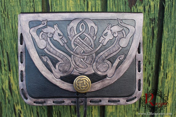 "Leather Viking pouch- ""Skoll and Hati"" dual celtic wolf design with custom concho closure"
