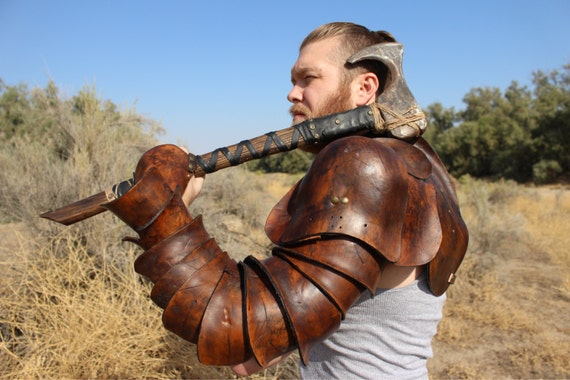 Leather Spartacus Armor- battle ready Gladiator single arm pauldron with integrated arm plates and hand guard. LEFT ARM ONLY!
