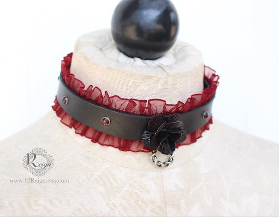 Leather Day Collar- NEW! Easy chain adjustable. Available in several color variations!