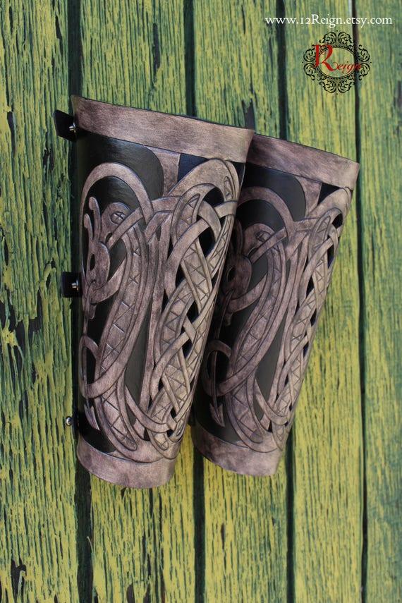 "Leather bracers, Viking- ""Floki"" FULL LENGTH celtic dragon cut-out design"