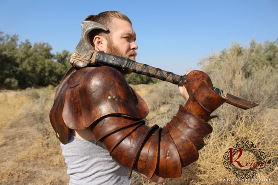 Leather Spartacus Armor- battle ready Gladiator single arm  pauldron with integrated arm plates and hand guard. RIGHT ARM ONLY.