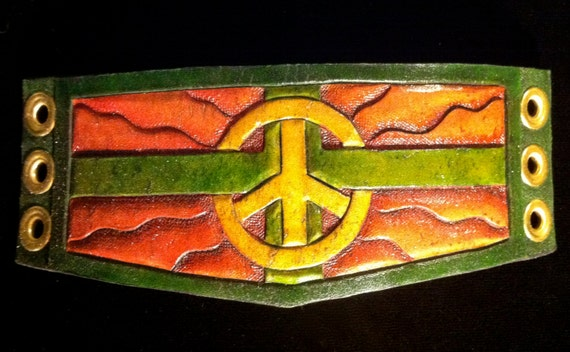 Leather wristband, Green Peace! READY TO SHIP! Medical cannabis and peace symbol on tooled leather bracelet.