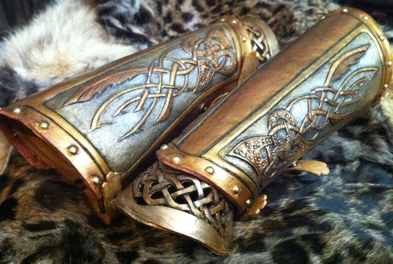 "Leather bracers, Viking- ""The Valkyrie"" custom celtic wing design on forearm plate with cut-out knot-work on wrist plate"