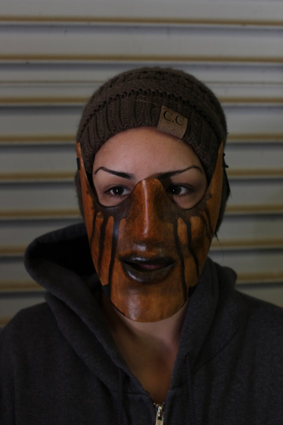 "Leather bite mask, ""Broken Heart"" costume masquerade mask"