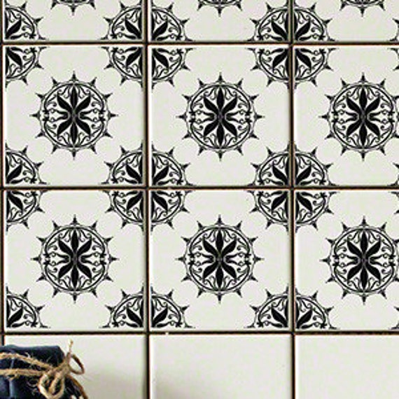 made by StickPretty Tile Tattoos Tile Stickers Regency Black RETile Decal Clear Background Tile Decals