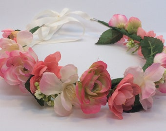 Hand-Made Pink and Peach Flower Crown