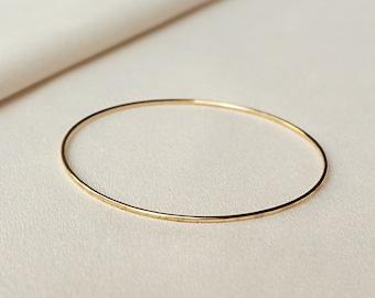 Hammered Gold Bangle | 14k Gold Filled Bracelet Thin Gold Bangles Bangle Bracelet Hammered Bangle Simple Gold Bangle Bridesmaid Gift for Her
