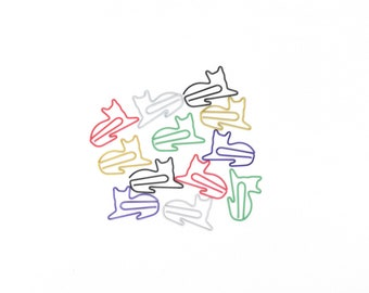 50 PCS Gullor Cute Paper Clips Assorted Colors Cute Cat Office Supplies Cat Shape Paper Clips Cat Gifts for Cat Lovers