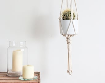 Macrame Plant Hanger > 100% Cotton Cord in Natural Ecru with Chinese Knot Detail & Wooden Ring