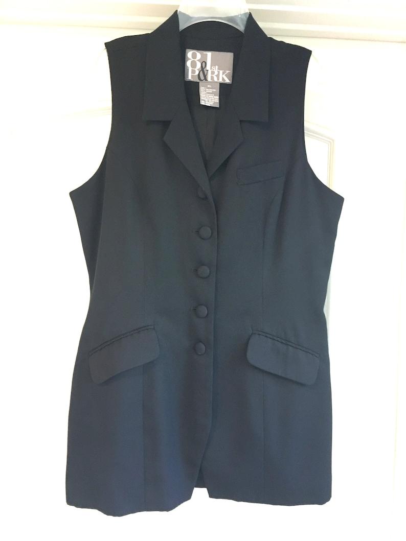 XL Tunic Designer Long Tunic Black Front Button Collar Fully Lined Jacket Vest Vtg NEW L