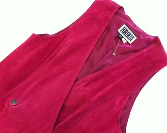 Gorgeous NEW Size M Hot Pink Fuscia Vtg Suede Leather FORENZA