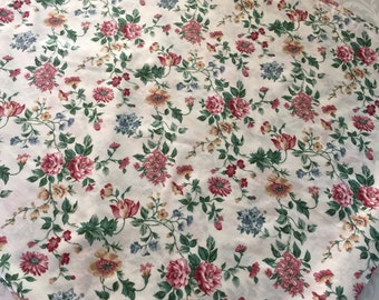 "Easy-Care 54"" Sq French Floral Print Pink Burgundy Rose Blue Tablecloth Cotton Poly Blend"