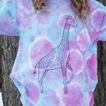 Custom Giraffe Shirt, Giraffe Tshirt, Funny Animal Tshirt, African Animals, Womens Tie Dye Shirt, OOAK Tshirt, Giraffe Art Shirt, Fun Tshirt