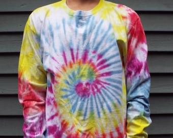 Long Sleeve Tie Dye Tshirt, Adult L, Large Tie Dye Shirt, Large TieDye, Hippie Shirt, Retro, Groovy, 60s, Tie Dye Swirl Tshirt, Mens Tiedye