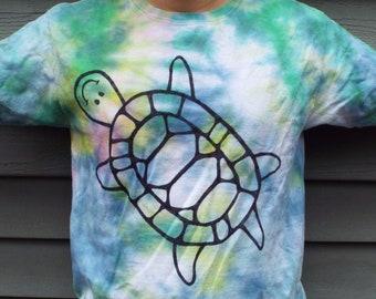 Kids Turtle Shirt, Kids Tie-Dye Turtle T-Shirt, Youth Large, Kids Tie Dye Shirt, Turtle Lover, Reptile Party, Turtle Birthday, Tween Boys
