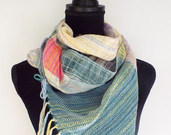 Off-white and Green scarf, handwoven cotton scarf, gifts for women, Handmade Scarf, Hand-Woven accessory, Weaving, Womens Fashion Scarf