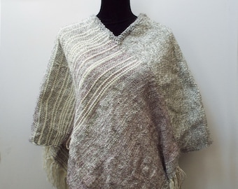 White and Grey Poncho with Stripes, Handwoven Shawl, Warm Winter Wrap, Plus size, Weaving, Winter cover up, gifts for women, womens poncho