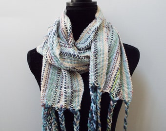 Striped Handwoven Scarf, Off-white scarf, Lightweight Cotton Scarf, natural fibers, blue striped scarf, Long scarf, Hand Weaving, Yellow