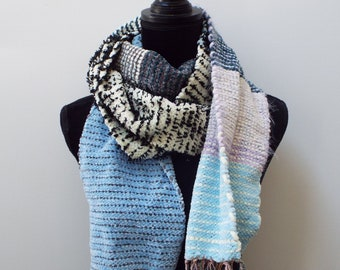 Handwoven Scarf in white, blue, and grey stripes, Warm Scarf, Handmade Winter Scarf, Fashion scarf for men, mens scarf womens scarf weaving