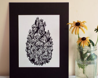 Pine Cone Print, Black and White Pen and Ink Drawing of a Pine Cone w lots of fine detail, nature art, nature lover, found objects art print