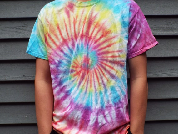 82001a436665f7 Colorful Tie Dye Shirt in bright boho colors Unisex Adult