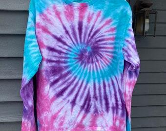 Long sleeve Tie Dye Shirt, Adult Medium Long Sleeve Tie Dye TShirt, unisex Adult M Tie Dye, Hippie Clothing, Retro TShirt, Groovy, 60s