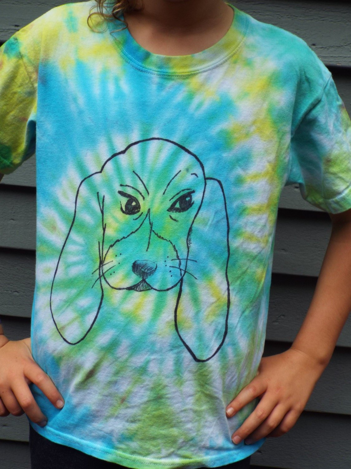 Kids Dog Shirt Custom Tie Dye Shirt w Basset Hound Kids Tie  41e87ae95