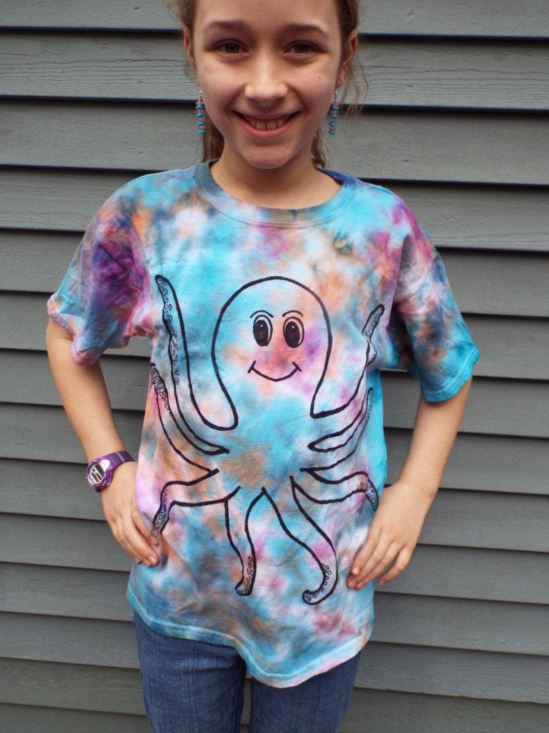 00ca120dc Kids Octopus Shirt Custom Tie Dye Octopus T-shirt Kids Tie | Etsy