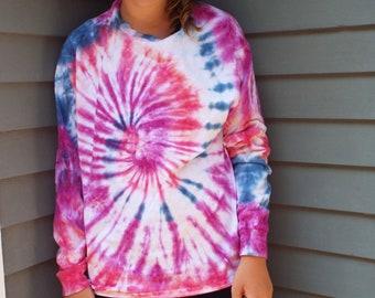Long-Sleeve Tie-Dye Shirt, Adult Large Tie Dye T-shirt, Long sleeve tee, boho shirt, plus size tie dye, mens tie dye, womens tie dye, tiedye
