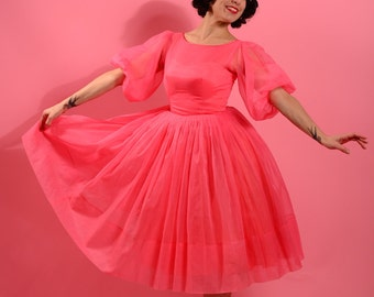 1950's bubblegum pink chiffon dress with gorgeous puffy sleeve • 50's Prom dress • Vintage pink dress